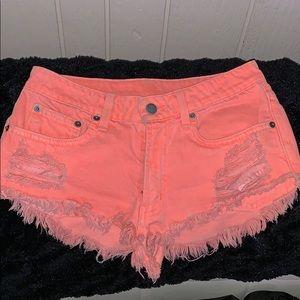 CARMAR neon orange denim shorts